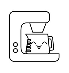 Kawaii coffee maker cartoon vector