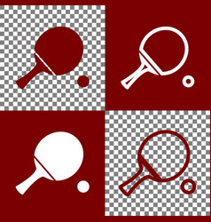 Ping pong paddle with ball bordo and vector