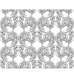 seamless pattern with ornate roosters vector image