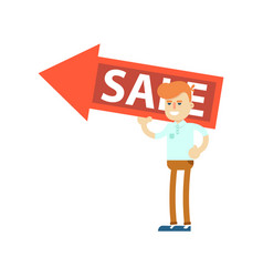 Seller man with big sale sign vector
