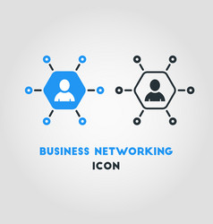 simple business networking icon in blue hexagon vector image