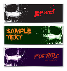 skull artistic splatter banners black green purple vector image