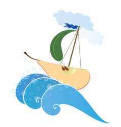 stylized pear like ship vector image vector image