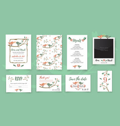 template wedding card with cute birds on a tree vector image vector image