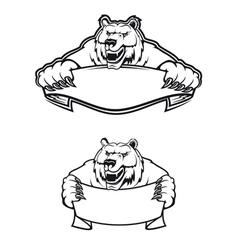 wild bear mascot logo vector image vector image