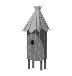 Wooden beehive icon gray monochrome style vector