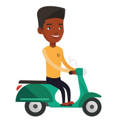 Young african-american man riding scooter vector