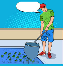 Young man cleaning pool pop art vector