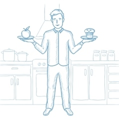 Man choosing between apple and cupcake vector image