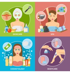 Skin and body cosmetology 2x2 design concept vector