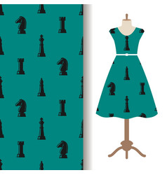 Dress fabric pattern with chess pieces vector