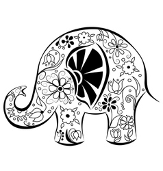 Silhouette of an elephant painted by flowers vector image