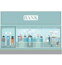 Bank building exterior and interior counter desk vector