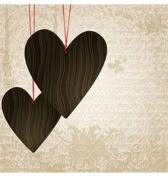 Happy valentines day grunge background with wooden vector