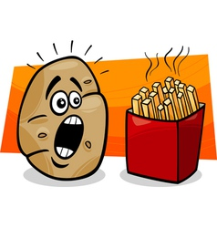 Potato with french fries cartoon vector