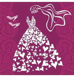 Wedding dress invitation card vector