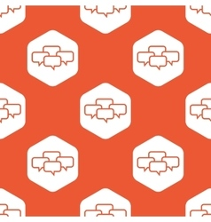 Orange hexagon chat conference pattern vector