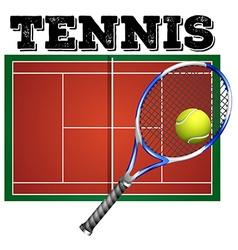 Tennis court and equipment vector