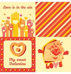 Valentine day four greeting cards and pattern set vector