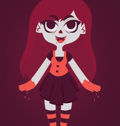 Cute vampire girl with blood in hands vector