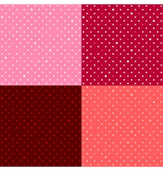 Set Red Pink Star Polka dot vector image