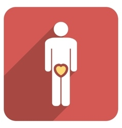 Male love flat rounded square icon with long vector