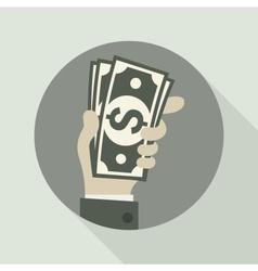 Paper bank notes money signs in hand vector