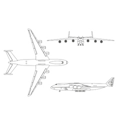 Outline drawing plane in a flat style vector