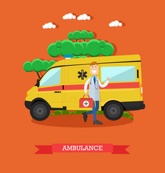 Ambulance concept in flat vector