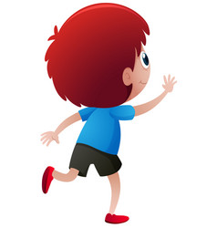 back of little boy with red hair vector image