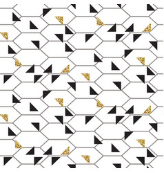 Black and glitter gold triangles mesh seamless vector