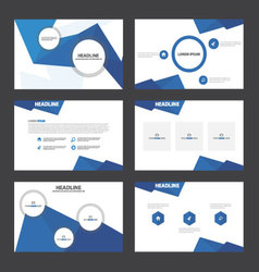 Blue polygon presentation templates infographic vector