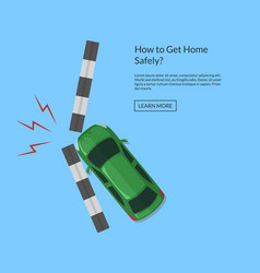 car accident with footpath top view vector image vector image