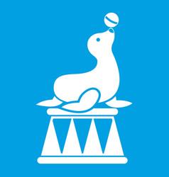 Circus seal with a ball icon white vector