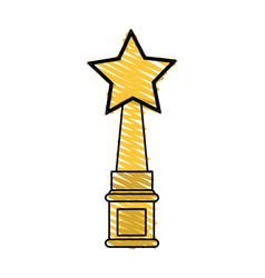 Color crayon stripe golden trophy with symbol star vector