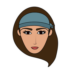 Color image cartoon front face woman with hat vector