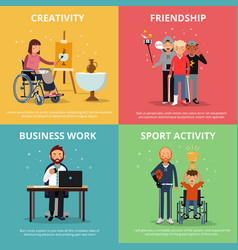 concept pictures of disabled people rehabilitation vector image vector image