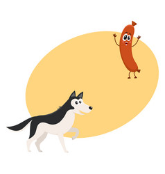 Cute black and white husky dog and sausage vector