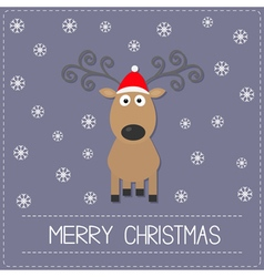 Cute cartoon deer with curly horns red hat vector