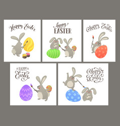 Easter bunnies collection vector
