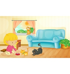 Feeding the cats vector image vector image