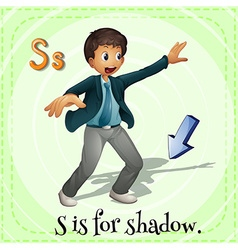 Flashcard alphabet s is for shadow vector