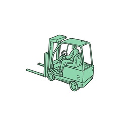 Forklift Truck Operator Mono Line vector image vector image