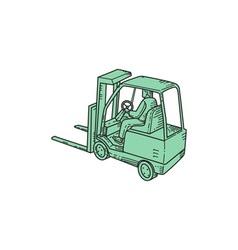 Forklift truck operator mono line vector