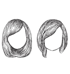Hand drawn fashion hair styles sketch vector image