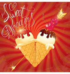 ice cream heart retro 380 vector image vector image