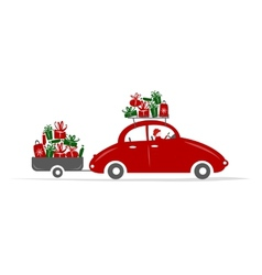 Man driving red car with gift boxes vector image vector image