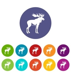 Moose set icons vector