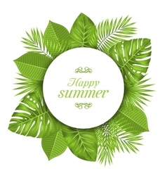 Natural card with green tropical leaves vector