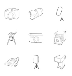 Photo shooting icons set outline style vector